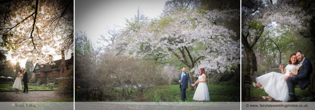 Bridal portraits in the grounds of the Grims dyke country house
